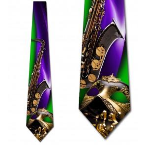 Mardi Gras Mask and Saxophone Necktie