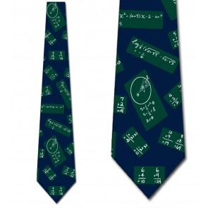 Chalkboard Repeat Green on Blue Necktie