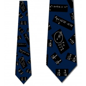 Chalkboard Math Black on Blue Necktie