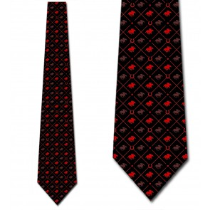 Race Horse Red on Black Necktie