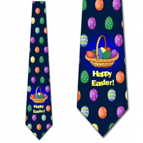 Easter Basket - Happy Easter (Navy) Necktie