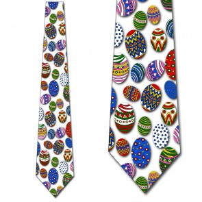 Easter Eggs Allover (White) Ties Necktie