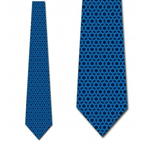 Star of David - Subtle Blue on Navy Ties Neckties