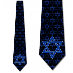 Large Print Star of David - Blue on Black Necktie