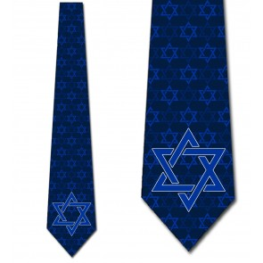 Large Print Star of David - Blue on Navy Necktie