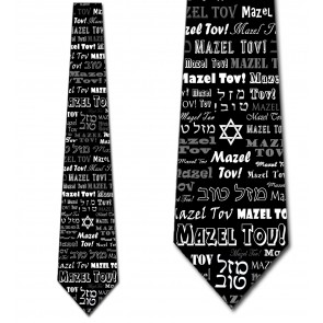 Mazel Tov Allover - Black Necktie