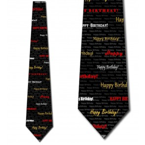 Happy Birthday - Red and Yellow Necktie