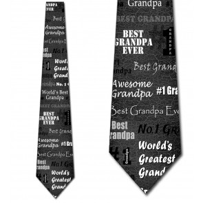 World's Greatest Grandpa - Charcoal Gray Necktie