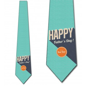 Happy Father's Day - Retro Teal Green Necktie