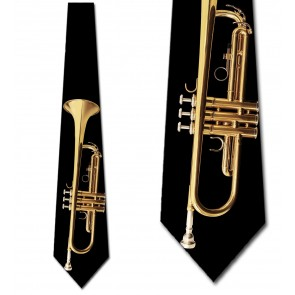 Brass Trumpet on Black Necktie