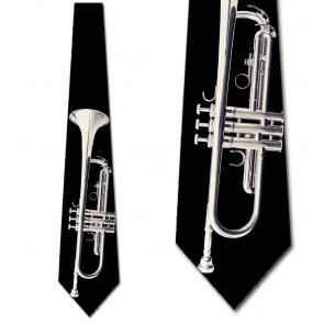 Silver Trumpet on Black Necktie