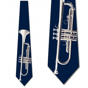 Silver Trumpet on Navy Necktie