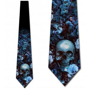 Floral Skull - Blue Necktie