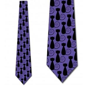 Black Cat Swirl - Purple Necktie