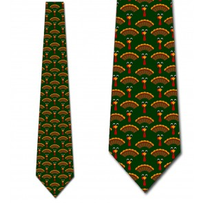 Turkey Time! - Forest Green Necktie