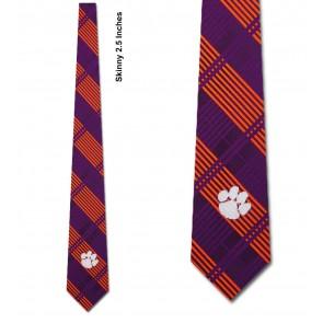Clemson Tigers Skinny Plaid Necktie