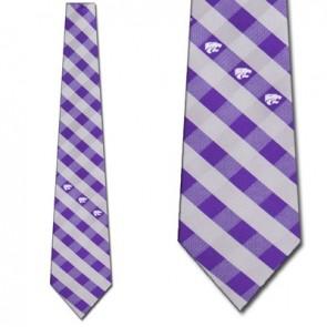 Kansas State Woven Check Necktie