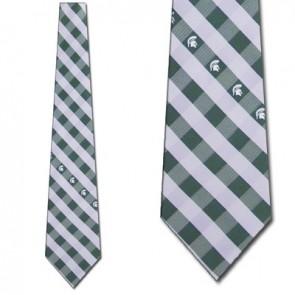 Michigan State Woven Check Necktie