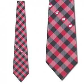 Wisconsin Badgers Woven Check Necktie
