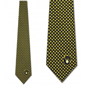 MLB Milwaukee Brewers Diamante Necktie
