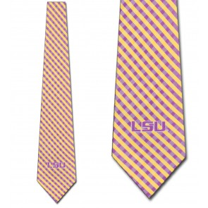 LSU Tigers Gingham Necktie