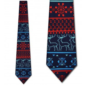 Geometric Holiday Icons - Ugly Sweater Necktie (Navy)