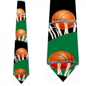 Basketball Rim Shot Black Necktie