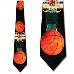 Basketballs and Hoop Black Necktie