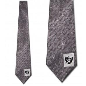 NFL Oakland Raiders Goal Posts Silver Necktie