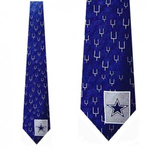 NFL Dallas Cowboys Goal Posts Blue Necktie
