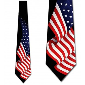 Large Waving US Flag Necktie