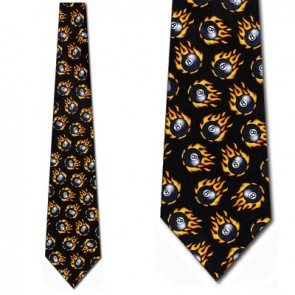 Eight Balls on fire Necktie