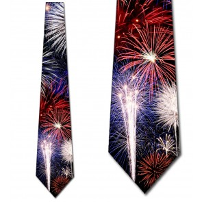 Red White and Blue Fireworks Necktie