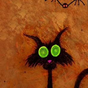 Happy Halloween Black Cat - Orange Necktie