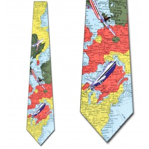 World Map with Planes Necktie