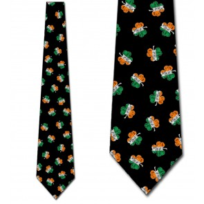 Irish Flag Clovers Necktie