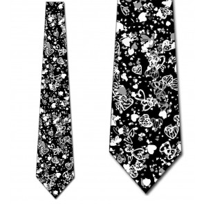 Valentine's Hearts Allover - Black Necktie