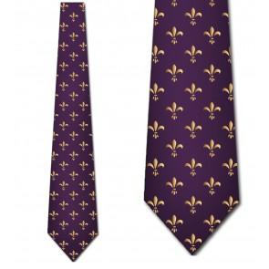 Golden Mardi Gras Fleur de Lis Necktie