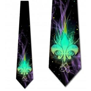 Mardi Gras Vibrant Fleur de Lis Necktie
