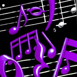 Musical Notes and Staff - Purple on Black Necktie