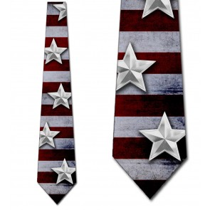 Silver Stars on US Flag Necktie