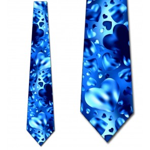 Floating Glass Hearts - Blue Necktie