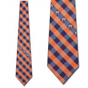 NHL Edmonton Oilers Woven Check Necktie