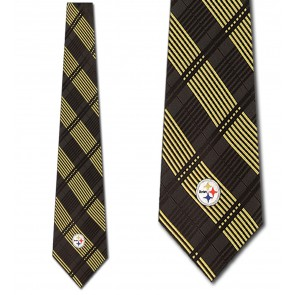NFL Pittsburgh Steelers Woven Plaid Necktie