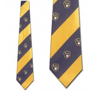 MLB Milwaukee Brewers Geometric Stripe Necktie