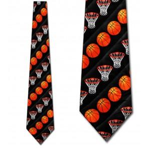 Basketballs and Nets Stripe Black Necktie